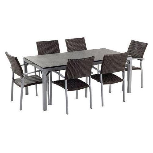 Stół ogrodowy 180 cm granit i aluminium 6 krzeseł - torino czarny palony marki Beliani
