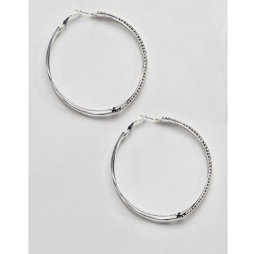 River island diamante hoop earrings in silver - white