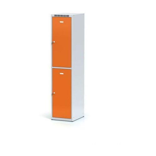 Metalowa szafka ubraniowa 2-drzwiowa, drzwi pomarańczowe, zamek obrotowy