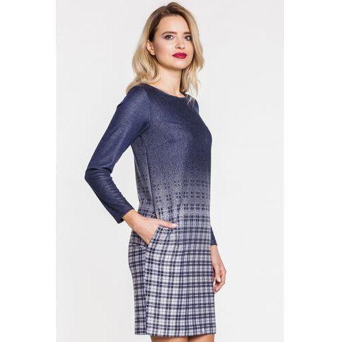 Sukienka casualowa z kratą - Ennywear, kolor niebieski