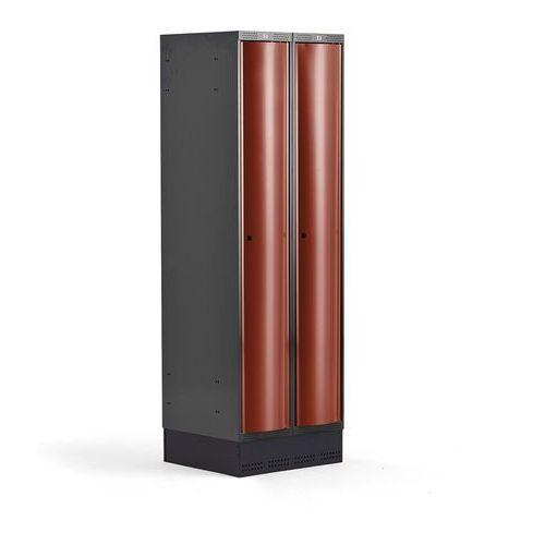 Aj produkty Metalowa szafa ubraniowa curve, na cokole, 2x1 drzwi, 1890x600x550 mm, czerwony