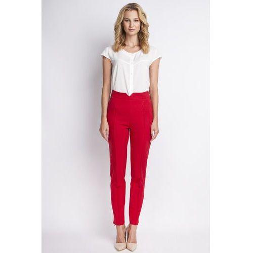 Klasyczne czerwone spodnie w kant z wysokim stanem marki Lanti