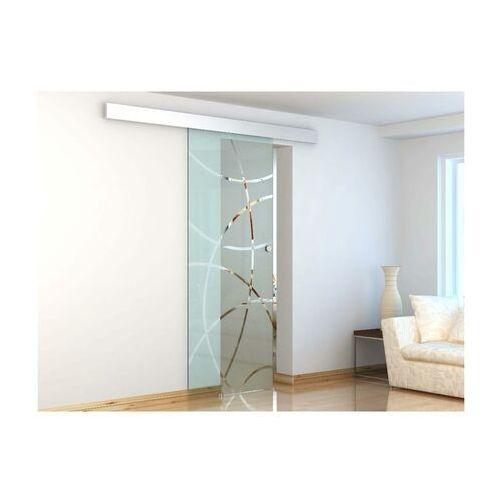 Naścienne drzwi przesuwne heidi - wys. 205 × szer. 83 cm - szkło hartowane marki Vente-unique