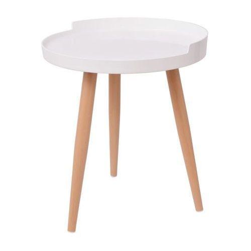 Vidaxl okrągły stolik kawowy z tacą 40x45,5 cm, biały (8718475996897)