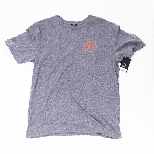 tričko BRIXTON - Wheeler Iii S/S Prem Tee Heather Grey/Orange (HTGOR) rozmiar: XL, kolor pomarańczowy