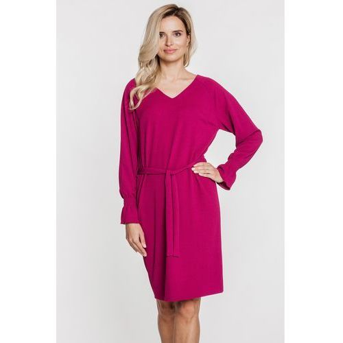 Burgundowa sukienka z wiązaniem i długimi rękawami - SU, kolor czerwony