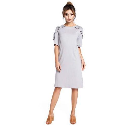 Moe Szara sukienka z falbankami na ramionach