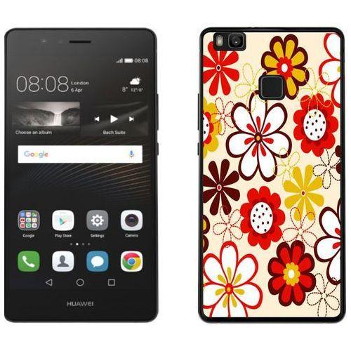 Huawei P9 Lite - etui na telefon - Kolekcja boho - czerwone kwiaty - J110, kolor czerwony