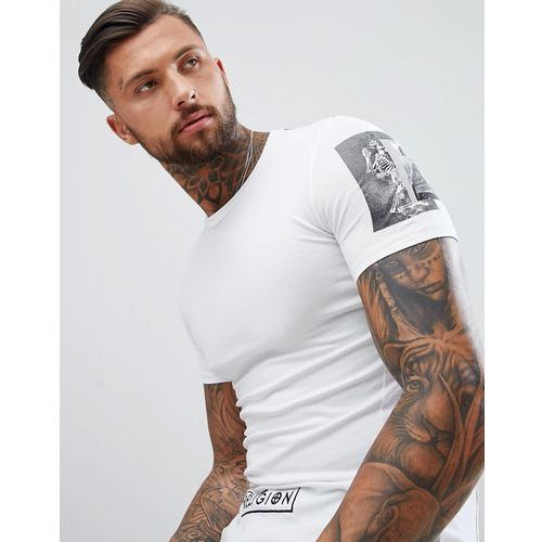 Religion Muscle Fit T-Shirt In White With Sleeve Print - White, 1 rozmiar