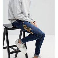 Brooklyn supply co muscle fit jeans deep indigo with tiger embroidery - blue, Brooklyn supply co.
