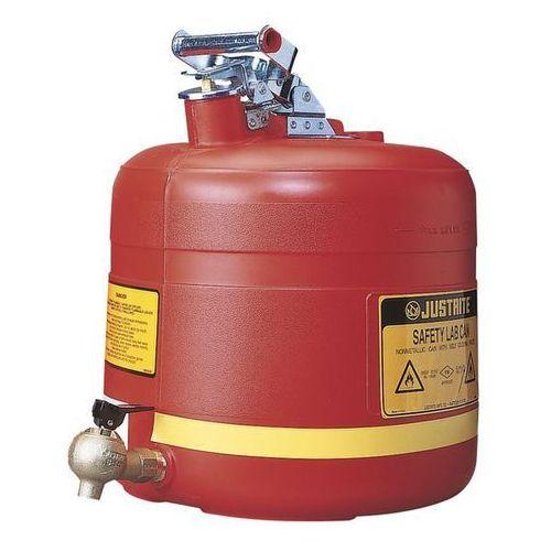 Bezpieczny pojemnik z kurkiem dozującym, polietylen, czerwony, poj. 19 l. Z czer