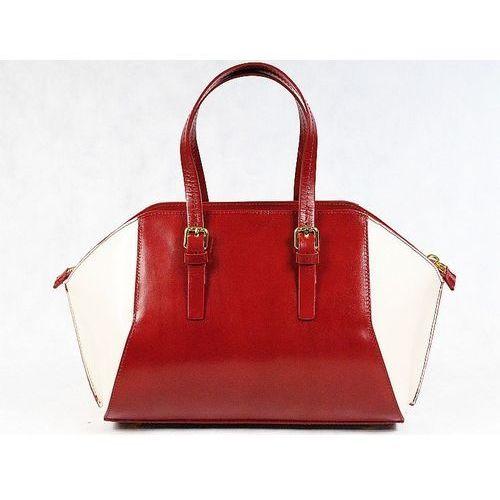 włoska torebka kuferek sórzany bordo - bordo marki Vera pelle