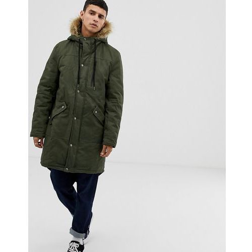 Another influence faux fur hooded fishtail parka jacket - green