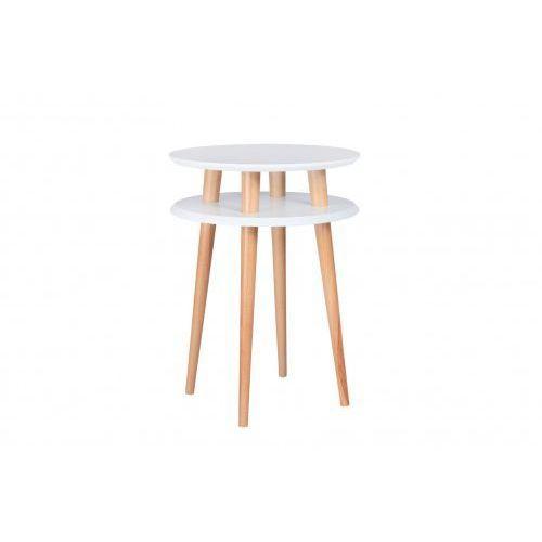 Ragaba Stolik kawowy okrągły drewniany ufo wysoki - kolor biały/ kolor nóg naturalny buk