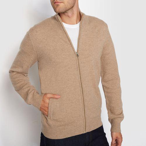 Sweter na suwak z kołnierzem na stójce, 100% wełny jagnięcej