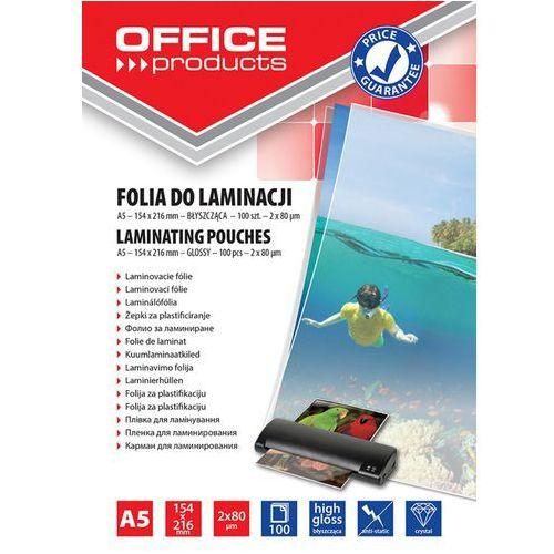 Folia do laminowania , a5, 2x80mikr., błyszcząca, 100szt., transparentna marki Office products