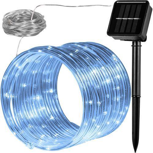 WĄŻ ŚWIETLNY SOLARNY 100 LED LAMPKI OGRODOWE ŚWIĄTECZNE ZIMNA BIEL - Biały (zimna biel) (4048821745942)