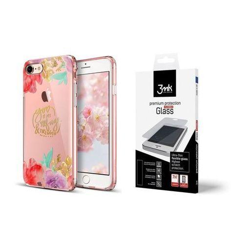 Esr Zestaw | etui art case aquarelle flower + folia 3mk flexible - iphone 7 / 8
