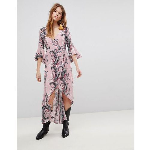 Glamorous Wrap Dress With Front Split In Palm Floral - Pink, kolor zielony