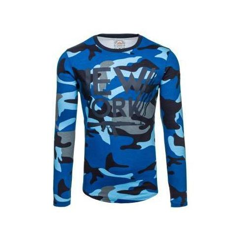 Bluza męska bez kaptura z nadrukiem moro-granatowa denley 0742 marki Athletic