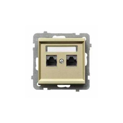 Gniazdo komputerowe podwójne kat. 5e, mmc szampański złoty - gpk-2r/k/m/39 sonata marki Ospel