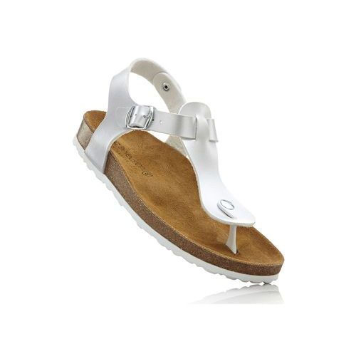 Bonprix Sandały japonki z profilowaną podeszwą wewnętrzną srebrny