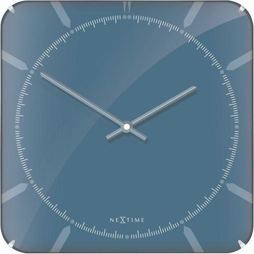 NeXtime - Zegar ścienny Michael Square Dome - niebieski, kolor niebieski