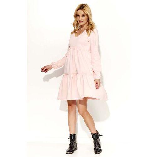 Pudrowa Sukienka Oversize z Falbankami, w 2 rozmiarach