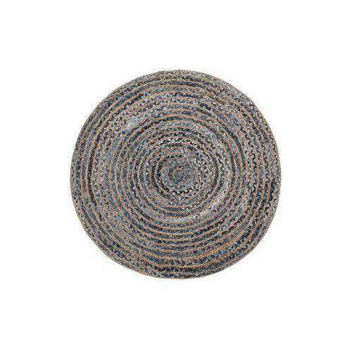 Beliani Dywan z juty okrągły ø 120 cm splot warkoczowy niebiesko-beżowy maslak (4251682228190)