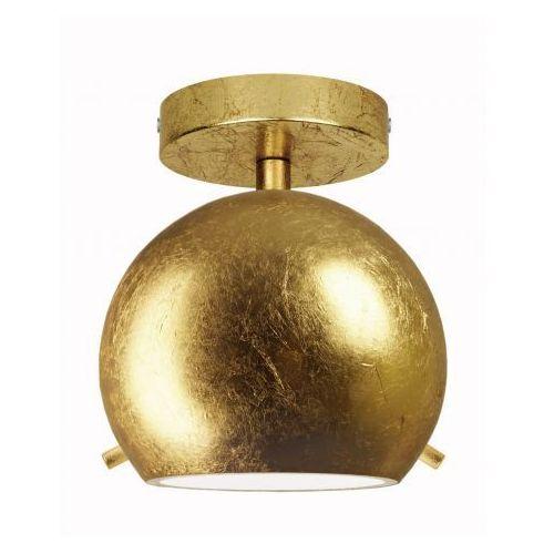 Natynkowa LAMPA sufitowa MYOO ELEMENTARY CP 1/C/GOLD LEAVES/OPAL Sotto Luce szklana OPRAWA plafon kula ball złota, MYOO ELEMENT CP 1/C/GD LEAF/OP
