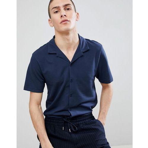 River Island Revere Collar Regular Fit Jersey Shirt In Navy - Navy, kolor szary
