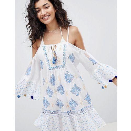 cold shoulder printed beach dress with pom pom sleeve trim - multi, South beach, XS-L