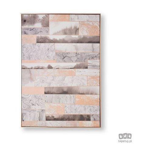 Obraz ręcznie malowany - abstrakcja w odcieniach różowego złota i szarości 104020 marki Graham&brown