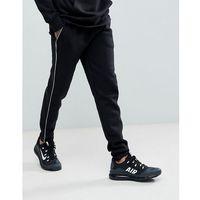 boohooMAN Super Skinny Joggers With Panel In Black - Black, kolor czarny