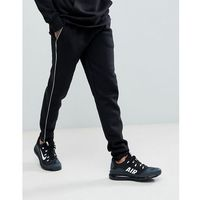 super skinny joggers with panel in black - black marki Boohooman