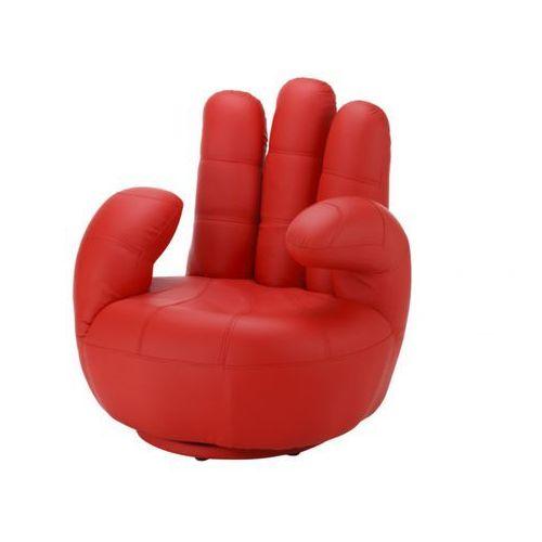 Vente-unique Fotel obrotowy w kształcie dłoni catchy z materiału skóropodobnego - czerwony