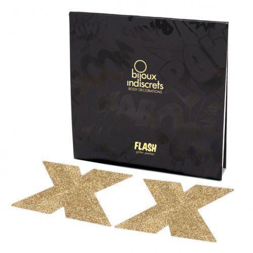 Naklejki na sutki - Bijoux Indiscrets Flash Cross Gold Złoty Krzyż z kategorii Nakładki na sutki