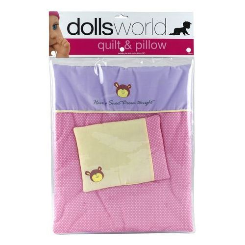 Dolls World, Zestaw akcesoriów, Kołdra + Poduszka ze wzorem Deluxe - produkt z kategorii- Pozostałe lalki i akcesoria