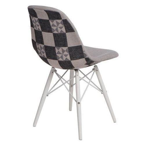 D2design Krzesło p016w pattern białe drewniane nogi (szare-patchwork) d2 (5902385724678)