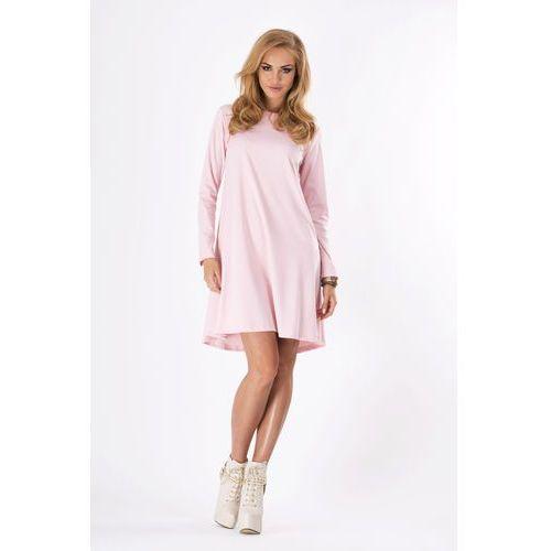 Pudrowo Różowa Luźna Sukienka Midi z Długim Rękawem, DM123pi