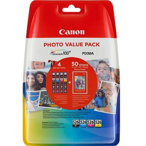 Canon 4 x tusz CMYK 526CMYK, CLI-526CMYK, CLI526CMYK, 4540B017 + 50 arkuszy papieru, CLI-526CMYK