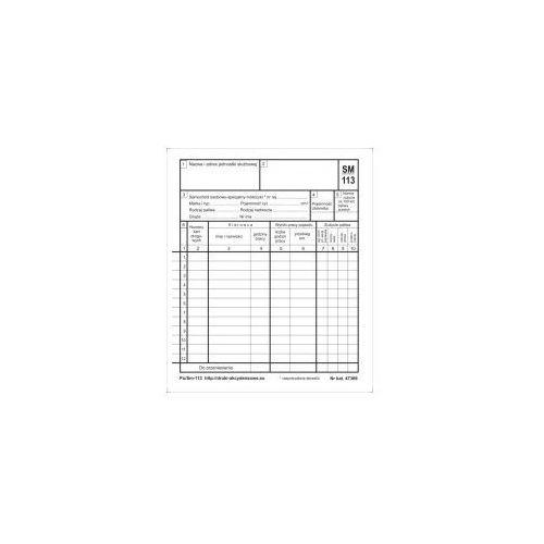 Miesięczna karta eksploatacji samochodu osobowego [Pu/Sm-113]
