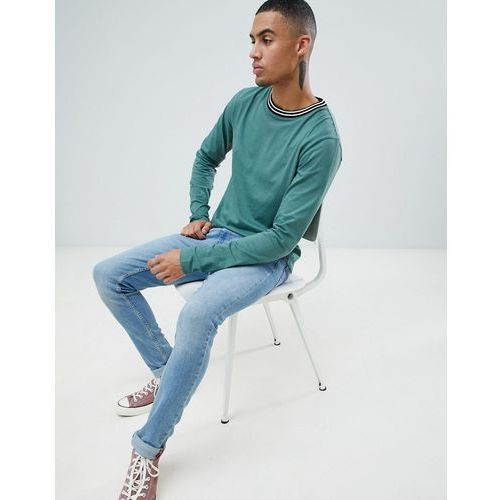 D-struct toweling long sleeve cotton single jersey top - green
