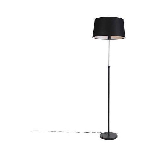 Qazqa Lampa podłogowa regulowana czarna klosz lniany czarny 45cm - parte