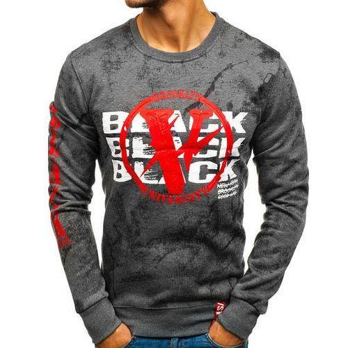 Bluza męska bez kaptura z nadrukiem grafitowa denley dd225, J.style