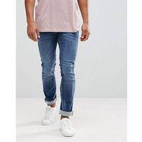 Celio Straight Fit Jeans In Dark Wash Blue With Distressing - Blue, kolor niebieski