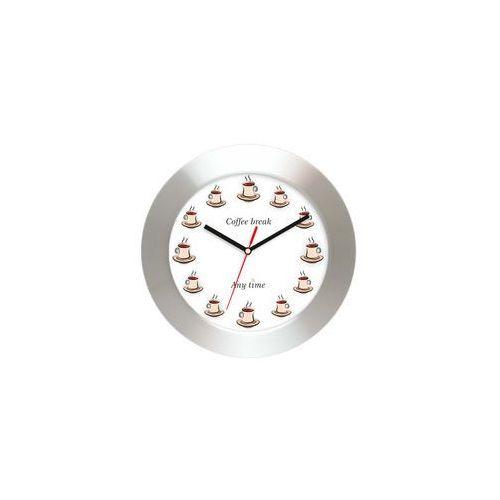 Atrix Aluminiowy zegar ścienny czas na kawę