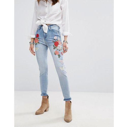 Boohoo  high rise embroidered skinny jean - blue