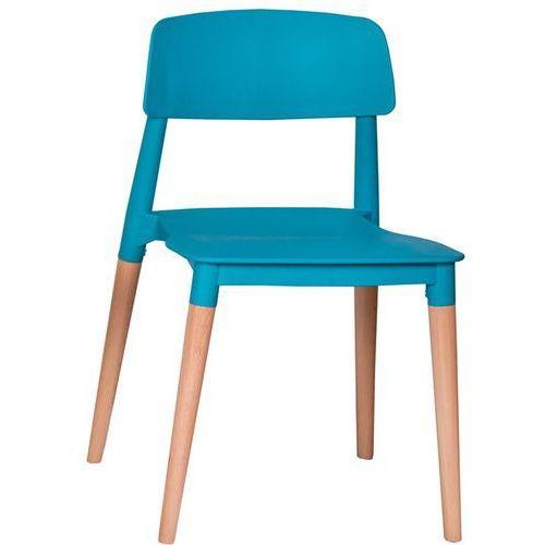 Krzesło plastikowe ecco premium turkusowe - polipropylen, podstawa bukowa marki King home