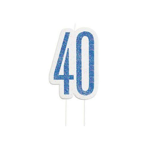 Unique Brokatowa niebieska świeczka na 40-tke - 1 szt. (0011179838813)